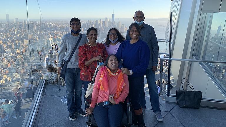 Lakshmee Lachhman-Persad in New York City with her family at The Edge attraction