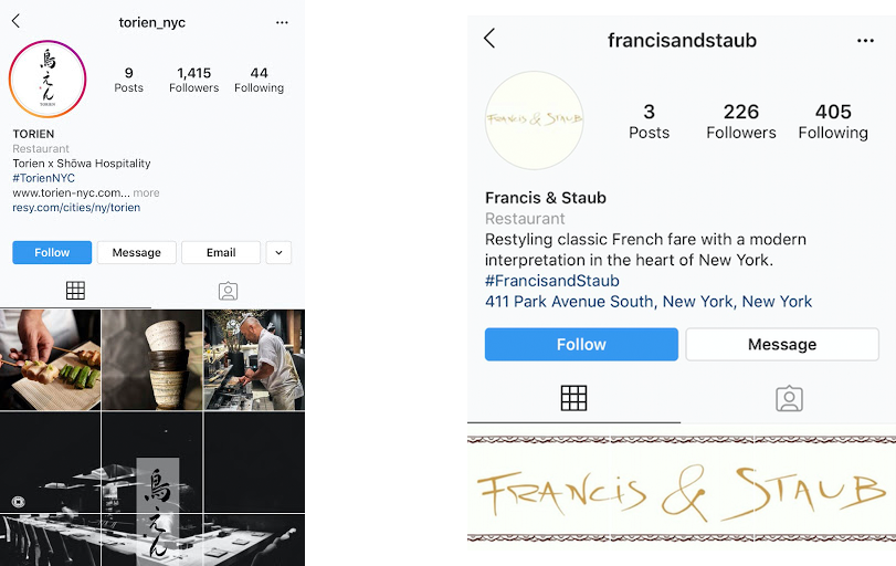 Instagram for Restaurants: Torien and Francis  & Staub