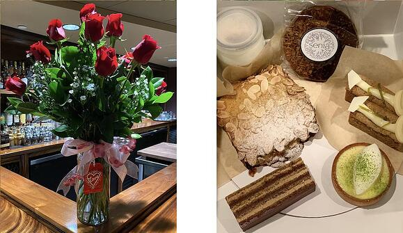 Bouquet of roses and box of pastries