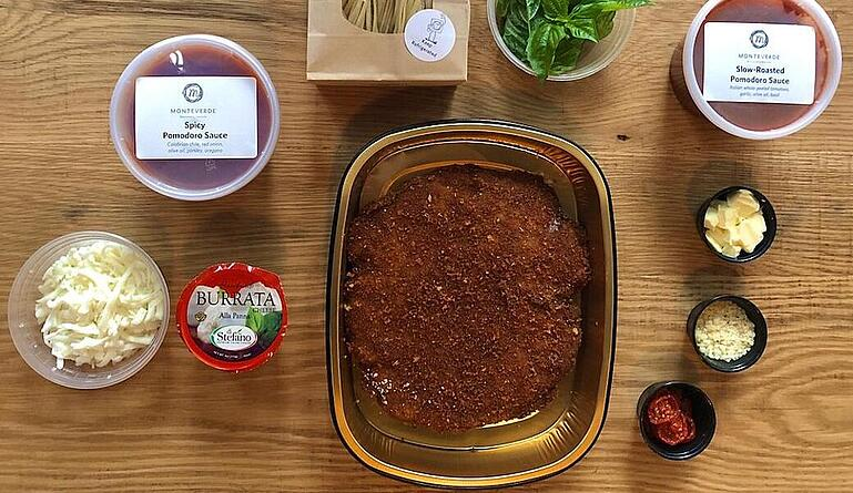 Meal kit for chicken parm from Monteverde